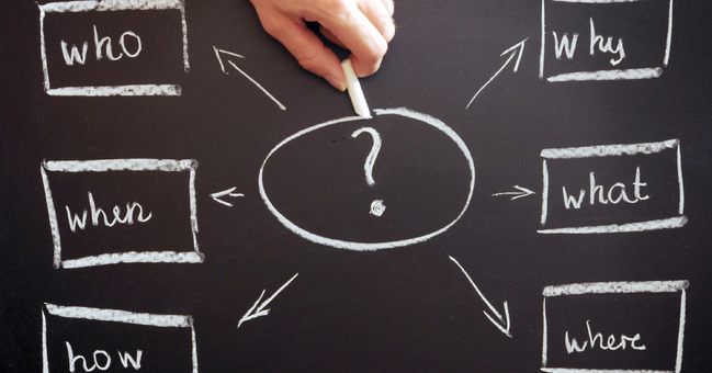 "A list of questions on a blackboard - ""where?"", ""what?"", ""when?"", ""why?"", ""who?"" and ""how?"""