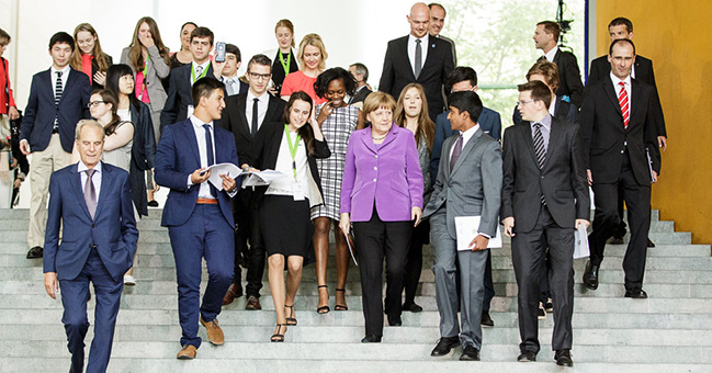 Chancellor Angela Merkel and young people at the Federal Chancellery